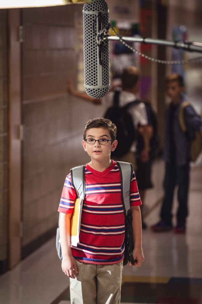 Behind the Scenes - Superhero Set - Boy in Hallway