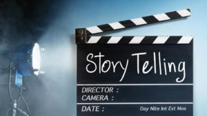 Story telling text title on film slate.Studio lighting equipment background